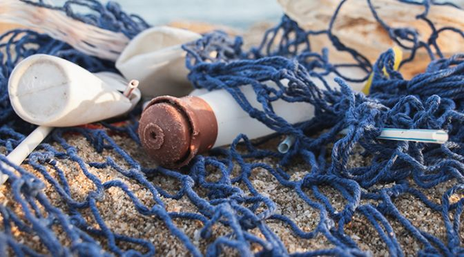 Plastic pollution caught in a net