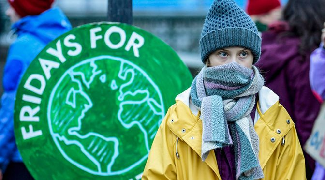 Girl at the climate strikes