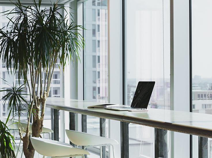Desk in front of windows