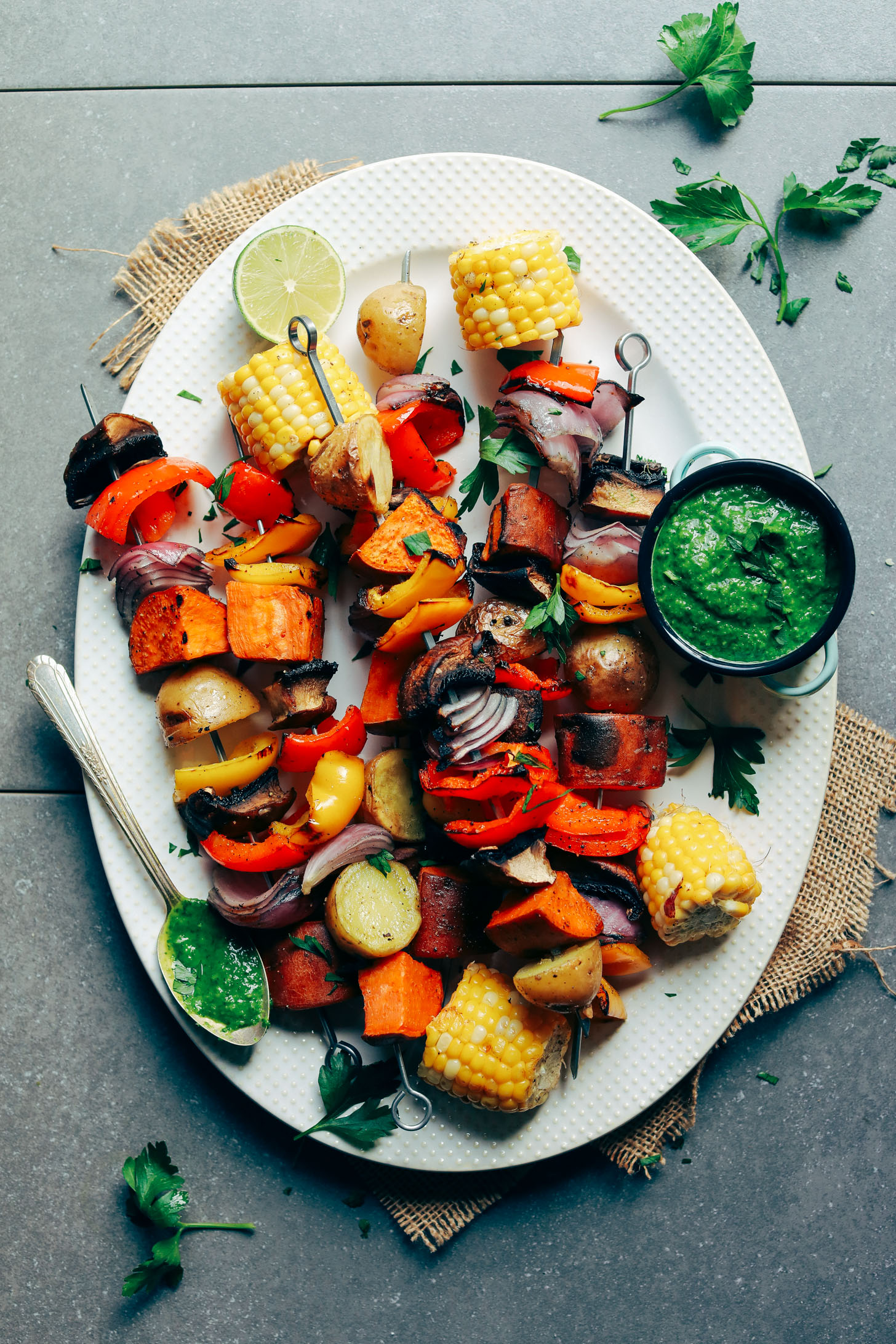 veggie skewers and chimchurri