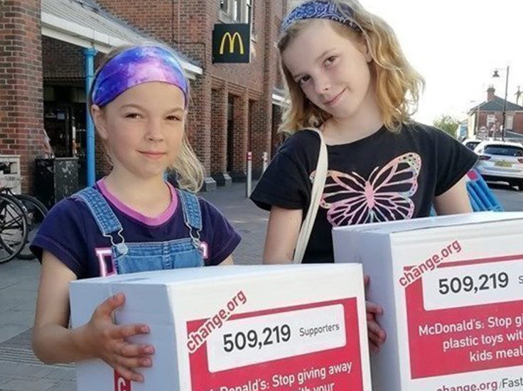 Ella and Caitlin started a petition calling on McDonald's and Burger King to ban plastic toys
