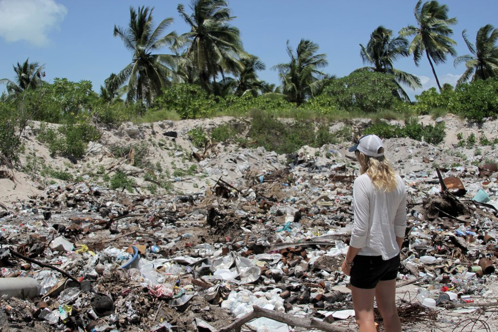 Emily at dump site in Kiribati