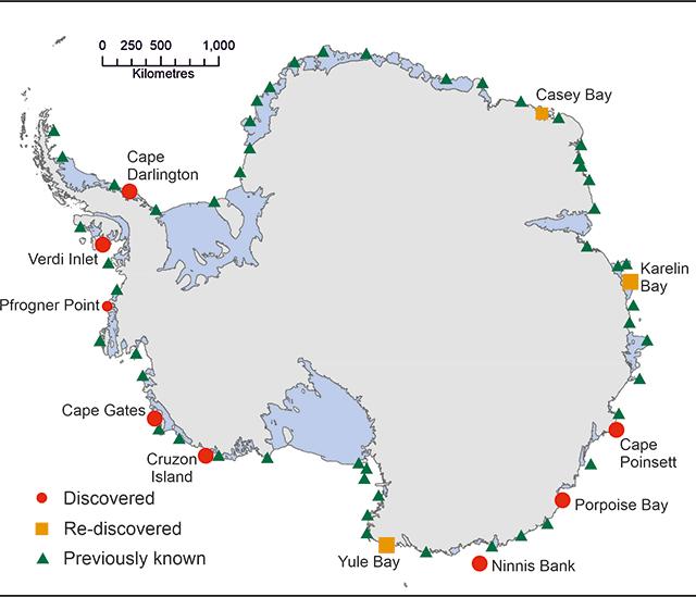 Map showing new penguin colonies, British Antarctica Survey