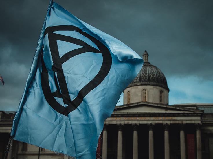 Extinction Rebellion banner in London