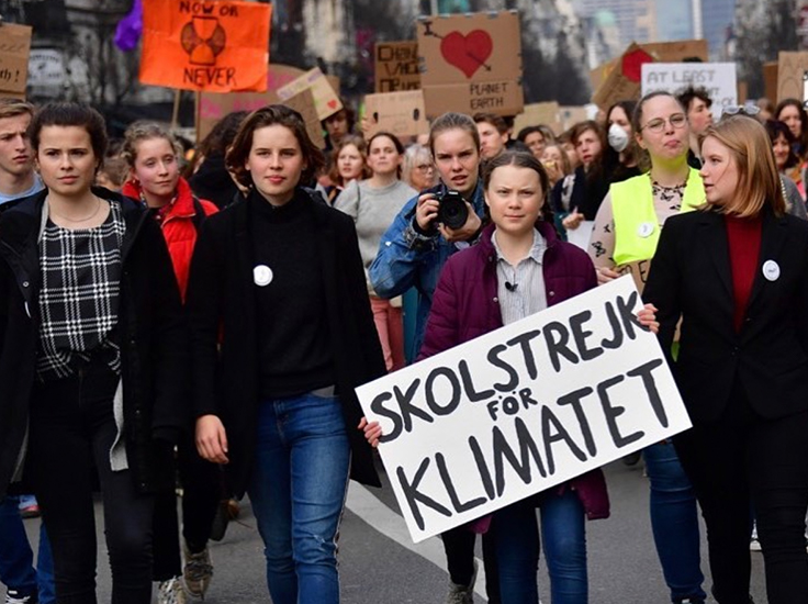 Greta and other young climate activists striking for the climate in Brussels