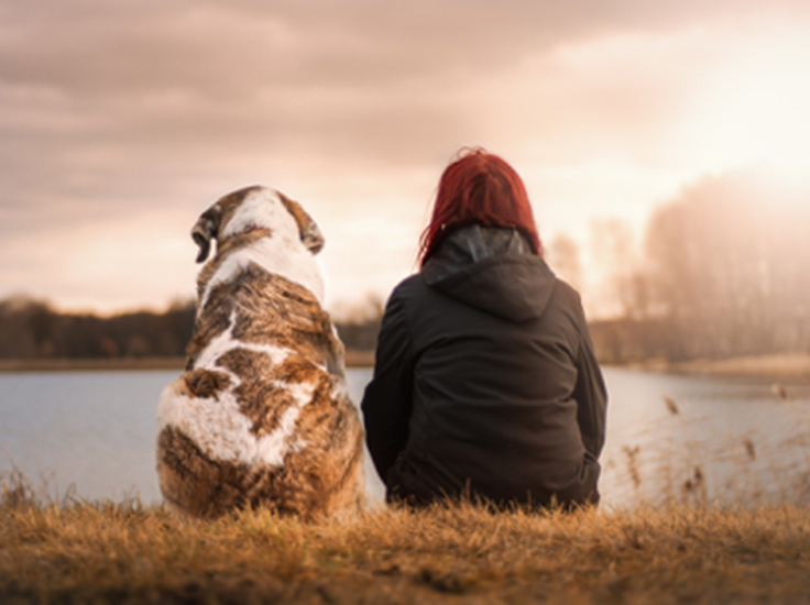 Woman sitting by a lake with her dog