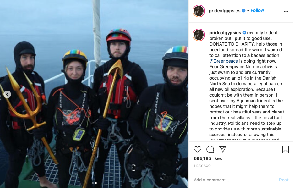 the Greenpeace activists in the North Sea with Jason Momoa's trident