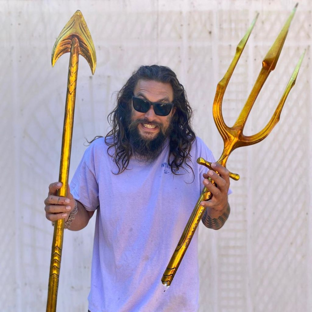 Jason Momoa and the trident he sent to the Greenpeace activists in the North Sea