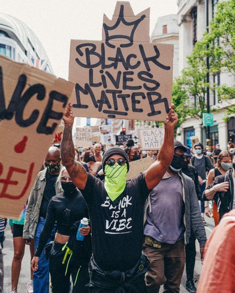 Lewis Hamilton at a Black Lives Matter Protest