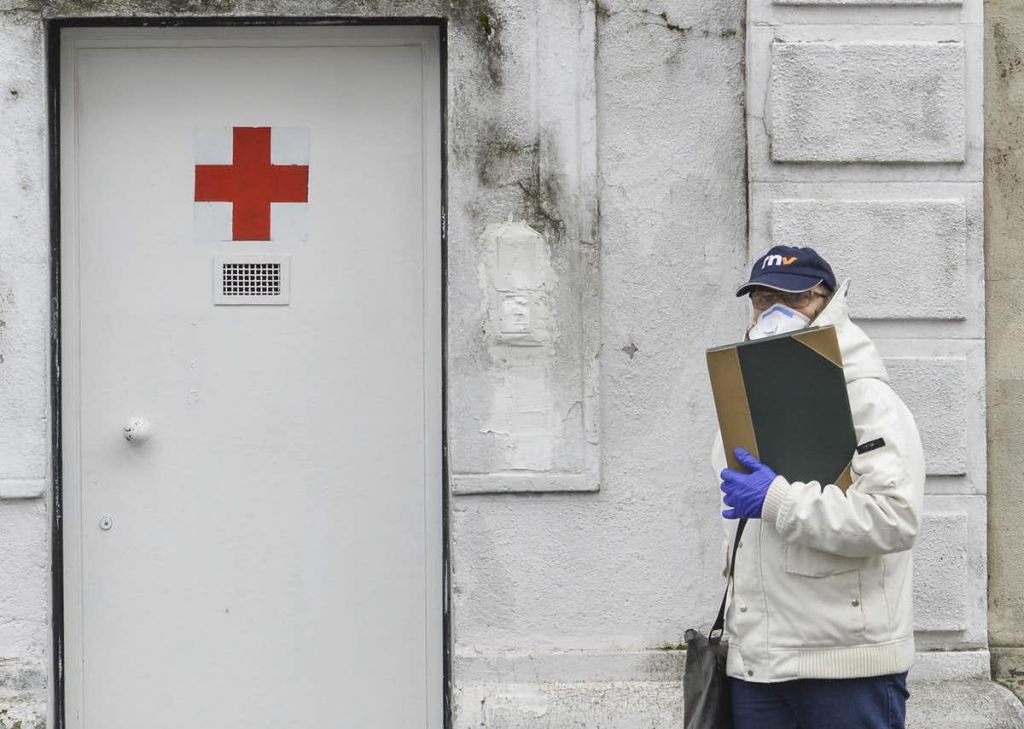 The entrance of a former military hospital in Milan, Italy, 6 March 2020, to which COVID-19 patients are being transferred. Andrea Fasani/EPA-EFE