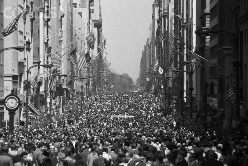 New York City's Fifth Avenue is filled with thousands of people when the street was closed to motor traffic for the First Earth Day on April 22, 1970 Image by © Bettmann/CORBIS | Photo Credit: Tommy Japan