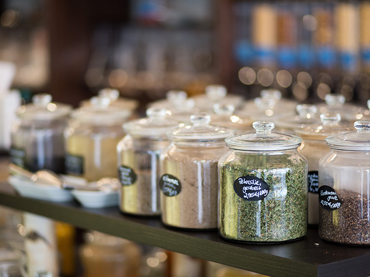 Jars with herbs and spices