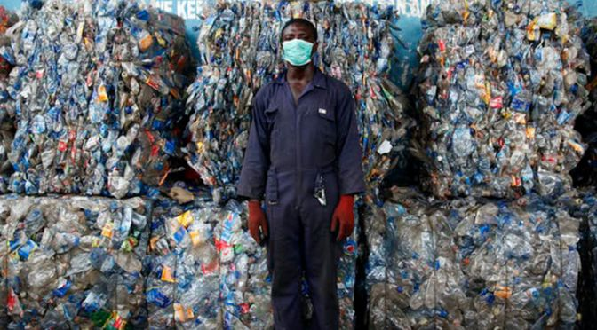 A startup in Lagos, Nigeria hopes to help manage the recent deluge of plastic waste. EPA-EFE/AKINTUNDE AKINLEYE