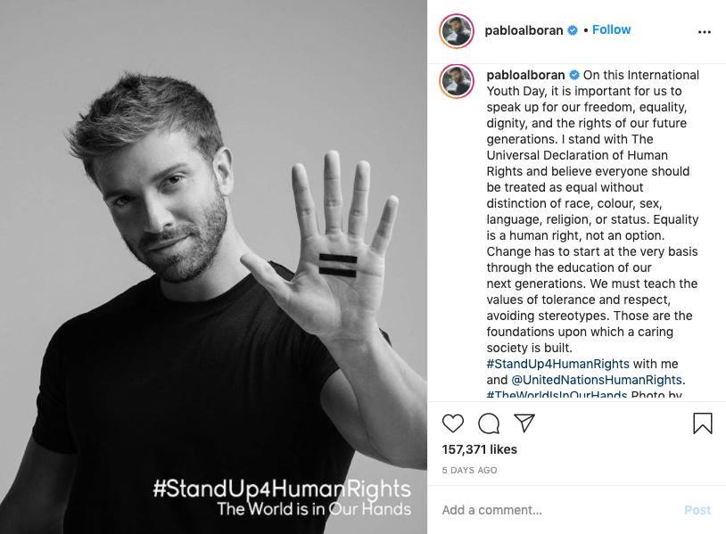 #WorldIsInOurHands Pablo Alboran, Instagram