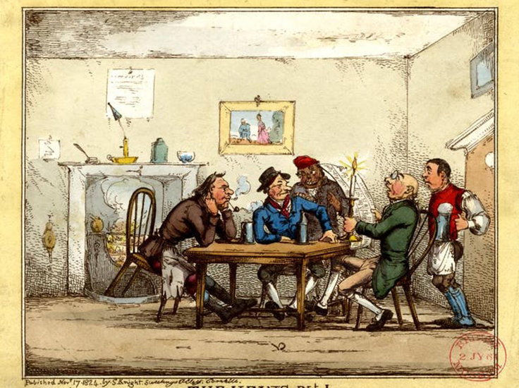 A tapster delivers a frothing tankard to seated alehouse customers in this 1824 etching. British Museum, CC BY-NC-SA