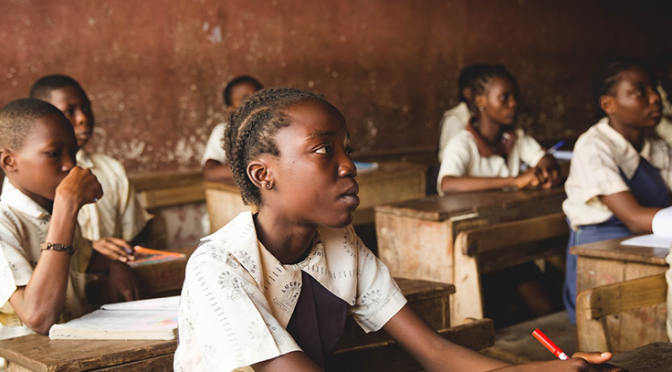 children learning in a school