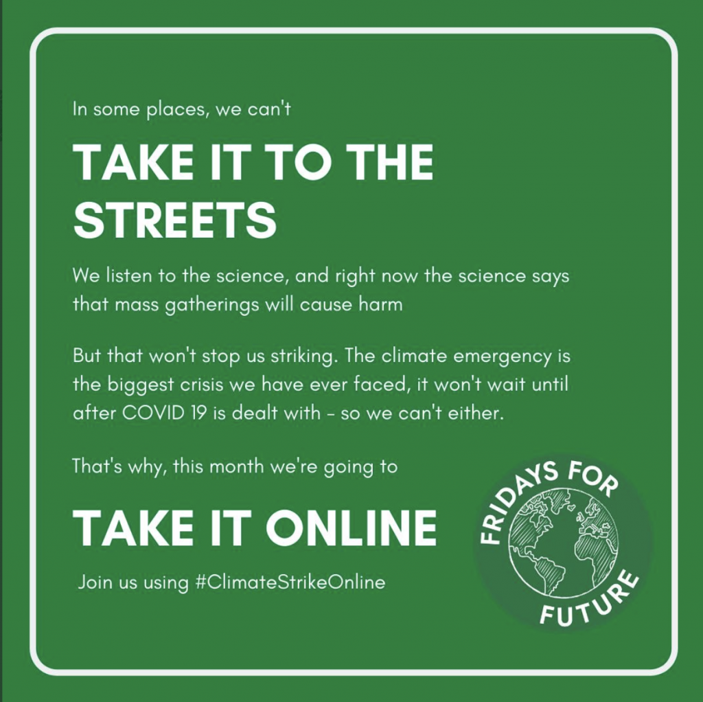 Take it Online and join using #ClimateStrikeOnline