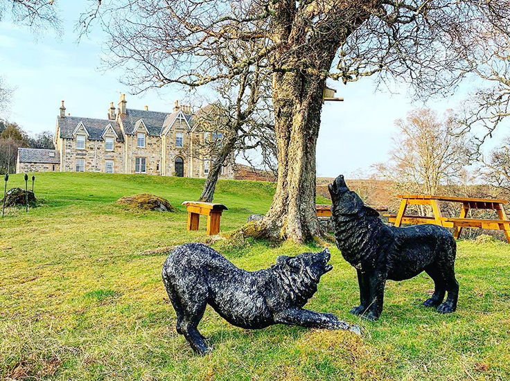 Statue of wolves at Alladale Wilderness Reserve