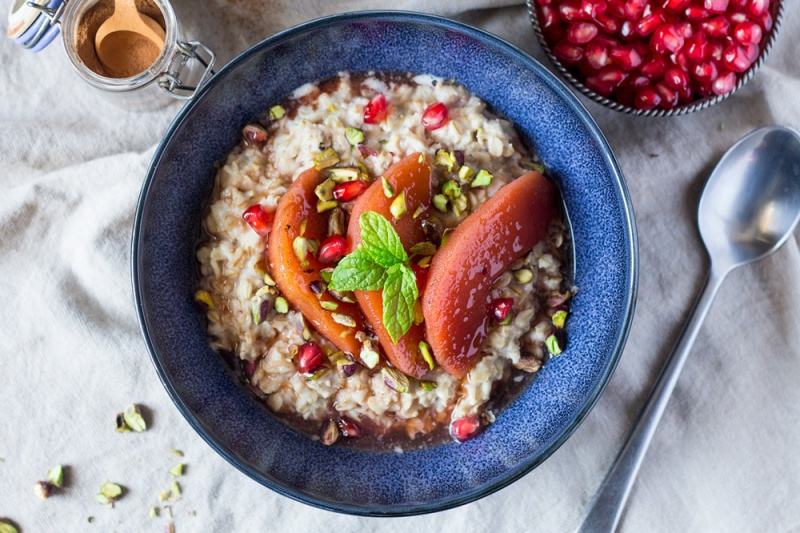 Autumn Porridge with Spiced Quince, @lazycatkitchen
